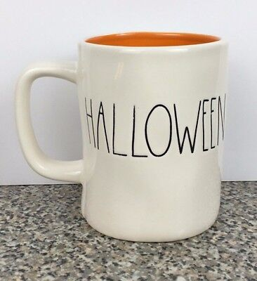 Rae Dunn Happy Halloween Mug M STAMPED Double Sided Magenta HTF First Edition