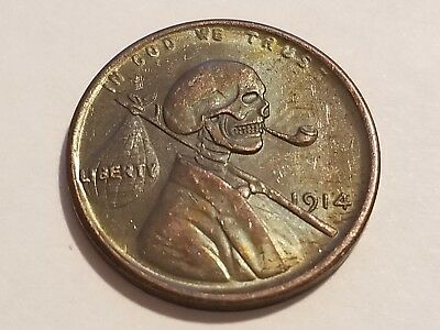 1914 US Cent - Hobo Skull - Novelty Coin ** $5.00 SALE **