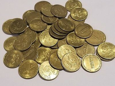 50 Count Lot PAC-MAN Arcade Tokens - Namco Game Tokens 23 mm