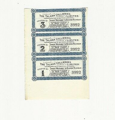 3 Vintage Southern Rhodesia Talana Collieries Stock Interest Coupons