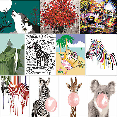 3D Animals View Coloring Paint By Numbers Oil Painting Canvas Picture Wall Decor
