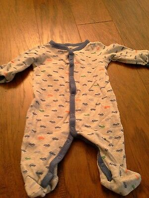 Carters 6 month footed sleeper cars blue grey boy