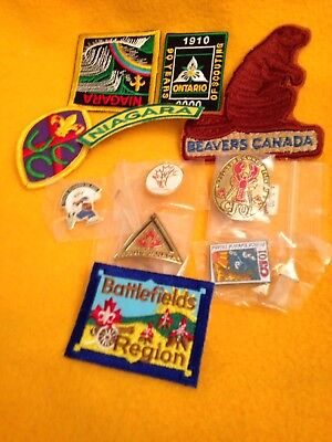 Lot of Canadian Patches, 1 pin, 1 staff badge + 3 bonus pins Total 11 NEW items!