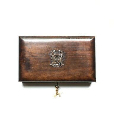 Antique English Carved Wood Walnut Monogrammed Trinket Lock Box, Late Victorian