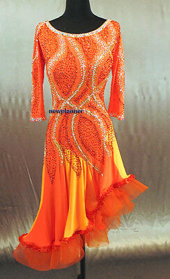 Women Competition Smooth Ballroom Salsa Rumba Swing Dance Dress US 8 UK 10