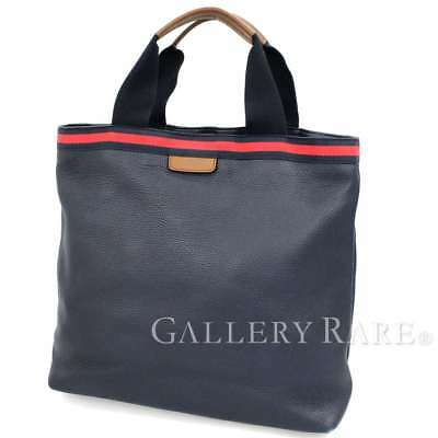96fac1f0f744 GUCCI Web Tote Bag Leather Navy Red Brown 281899 Italy Men s Authentic  5120741