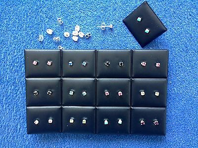 JOBLOT - 24 pairs of 0.4 cm mix colours rhinestone stud earrings.Silver plated.