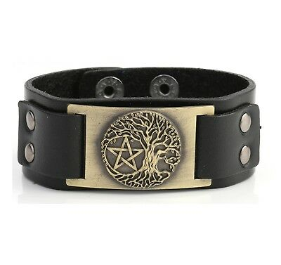 Egyptian Jewelry World Tree of God Pentacle Pentagram Leather Bracelet for Men