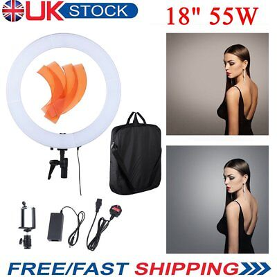 Studio LED 55W 18 INCH Dimmable Photo Video Ring Light + Camera iPhone Holder UK