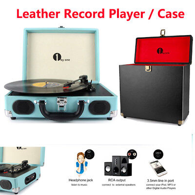 1byone 3Speed Leather Turntable Vinyl Record Player Belt Drive Recorder Speaker
