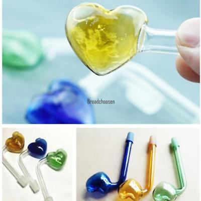 Portable Glass Heart-shaped Tobacco Smoking Pipe Hand Pipes BRCE 01