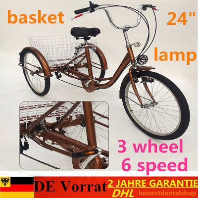 "Trike Adulte 6 vitesses 24 ""Tricycle Bicycle de vélo + panier+lampe for Gift DHL"