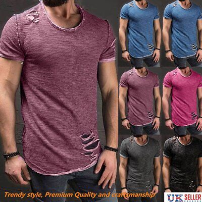 Classic Men's Plain Short Sleeve  T-Shirt Blank Cotton Round Ripped Neck Casual