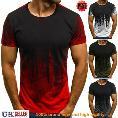 Mens Short Sleeve T Shirt Hip Hop Cool Slim Fit Casual Blouse Tops Sports Muscle