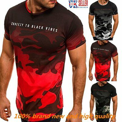 Fashion Men's Camouflage Print Casual Short Sleeve T-Shirt Sportwear Tees Blouse