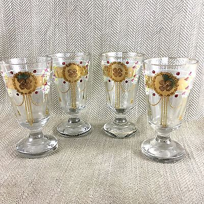 Antique Ice Cream Glasses Glass Set German Jugendstil  Art Nouveau RARE