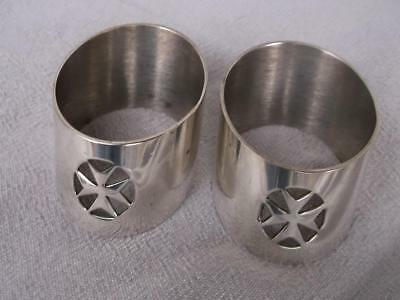 Beautiful Pair Of Silver Plated Napkin Rings With Maltise Cross Design