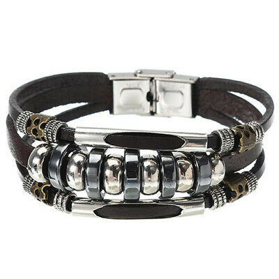 Mens Multilayers Leather Bracelet Stainless Steel Buckle Casual Boys Accessories