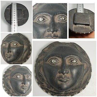 The most rare ancient indo greek  black stone  head belt. shell and silver inlay