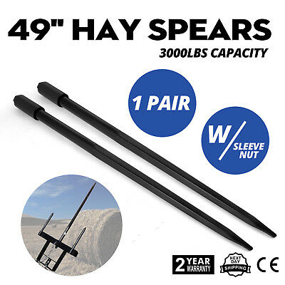 New Two 49 3000 lbs Hay Spears Nut Bale Spike Fork Pair Hay Attachment Sleeve