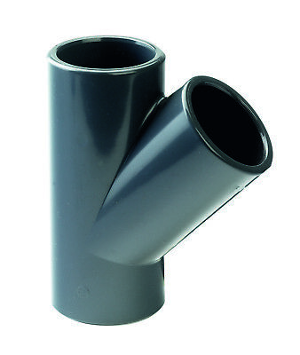 """PVC Solvent Weld Equal Tee x 45o Branch. Pressure Grade Imperial 1/2"""" to 2"""""""