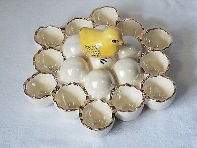 Vtg. Ceramic Easter Egg Holder 12 Place Display Dish