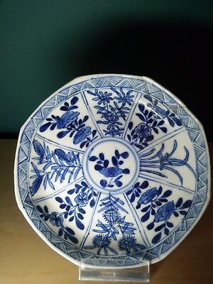Old Chinese Blue Flower Porcelain Kangxi Plate