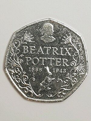 Beatrix Potter 150th Anniversary 50p Fifty Pence Coin 2016 Circulated.