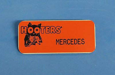 Hooters Restaurant Girls Mercedes Orange Name Tag (Waitress Pin)