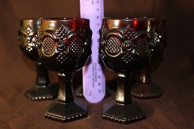 (5) Vintage Avon Ruby Red Cape Cod Small Wine Goblets