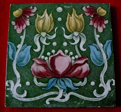 Antique Art Nouveau Print & Tint Green Tile Stylised Pink Red Yellow Flowers VGC