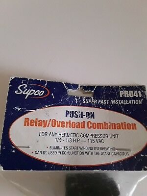 R041 SUPCO REFRIGERATOR Relay Overload FOR 1/4 - 1/3 hp Compressors on
