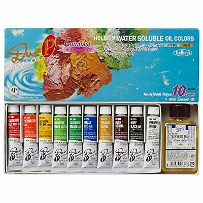 F/S Japan Holbein Water Soluble Aqua Oil Colors Duo 10 Colors Set 10mlT... Japan