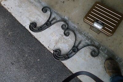 2 Antique Wrought Iron Outdoor Scroll Style Wall Hanging Lamp Mounts
