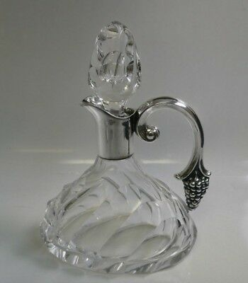 Antique Sterling Mounted Cut Crystal Wine Decanter With Mounted Grape Handle