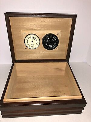 Woodmere France Solid Walnut Cigar Humidor With Hygrometer Vintage