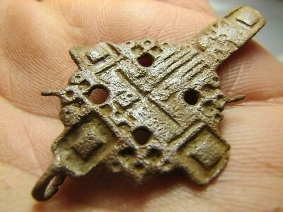 Rare !  Big ! Authentic !  Late Medieval Orthodox Bronze Cross Pendant ! #819