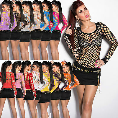 New Women Clubbing Dress Long Sleeve Top Fishnet Shirts Blouse Uk Size 6 8 10