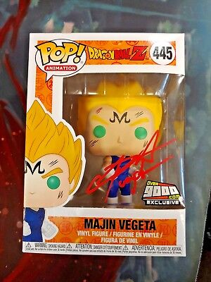 Funko Pop! Dragonball Z Majin Vegeta Over9000.com Autographed by Sabat NYCC 2018