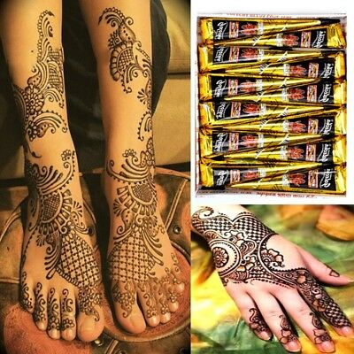 Black Chestnut Temporary Tattoo Kit Henna Mehandi Cones Bodyart Paint Paste AU