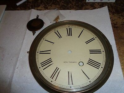 "Antique-Brass 8 1/2"" Clock Bezel & Glass & Dial Plate-Ca.1900-P973"