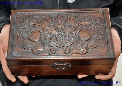 Old Chinese yellow rosewood Hand-carved money wealth bat peach Jewelry Box Boxes