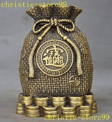 "5"" Chinese brass copper folk Collect wealth coin money bag statue Money cans"
