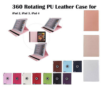 360°Rotate Litchi Grain PU Leather Cover Case for Apple iPad 2 3 4