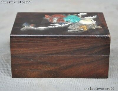 Old Chinese Huanghuali Wood Inlay Shoushan Stone Turquoise Pomegranate Peach Box