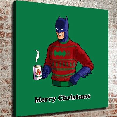 """12""""x12"""" Batman Merry Christmas HD Canvas Print Painting Home Decor Wall Picture"""