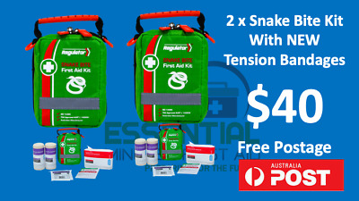 2 x Premium Snake Bite Kits with Tension Indicator bandages 10cm x 4.5m
