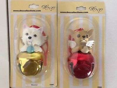 Lot of 2 Scottish Terrier & Chihuahua Angel  Bell Christmas Ornaments By DNC NIB