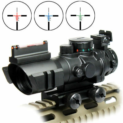 US Tactical Rifle Tri-illuminated 4X32 Prismatic Scope&Fiber Optic Sight BDC