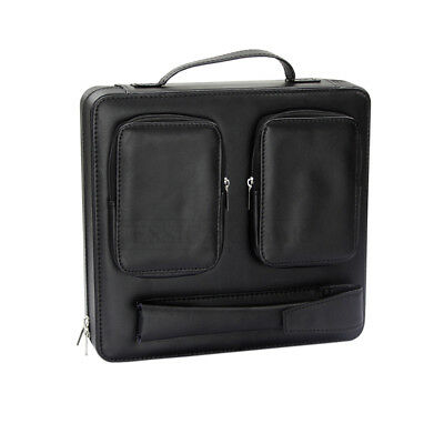 Genuine Leather Black Travel Cigar Humidor Case In Business Briefcase Style 30CT